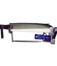 Trasportatore in curva di 90° in acciaio inox per prodotti vari e pesanti